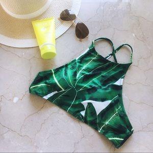 Other - Palm print high-neck bikini top